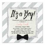 Cute Boy Bow Tie Light Grey Stripes Baby Shower Card