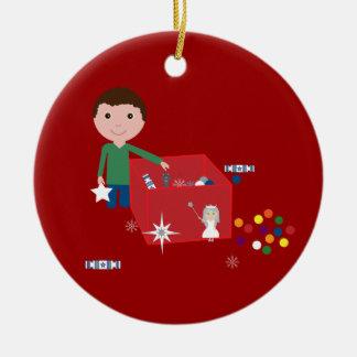 Cute Boy & Christmas Decoration Box Ornament