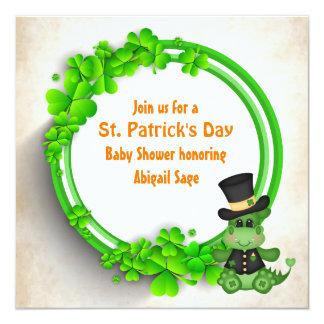 Cute Boy Dragon St Patrick's Day Irish Baby Shower Card