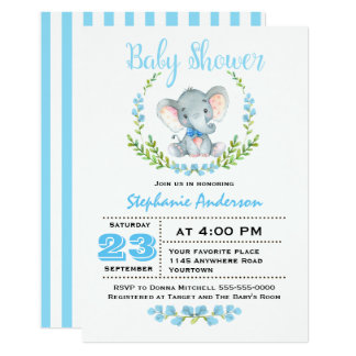 Cute Boy Elephant Baby Shower Invitation