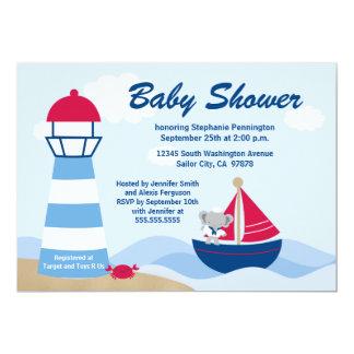 Cute boy elephant sailor baby shower invitation
