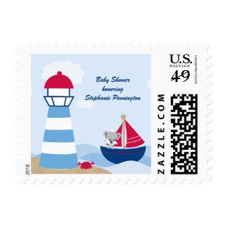 Cute boy elephant sailor baby shower stamp