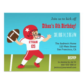 Cute Boy Football Birthday Party Invitations