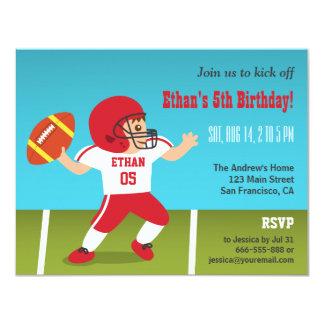 "Cute Boy Football Birthday Party Invitations 4.25"" X 5.5"" Invitation Card"