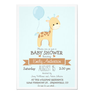 Cute Boy Giraffe, Jungle Zoo Animal Baby Shower Card