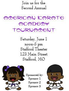 Karate tournament invitations announcements zazzle cute boy girl karate tournament invitation stopboris Images