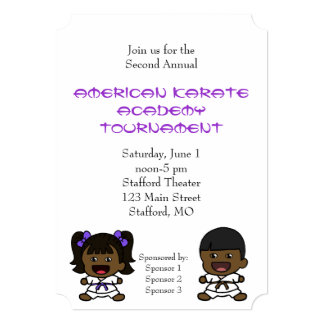 Cute Boy & Girl Karate Tournament Invitation