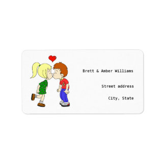 Cute boy girl kiss cartoon address labels