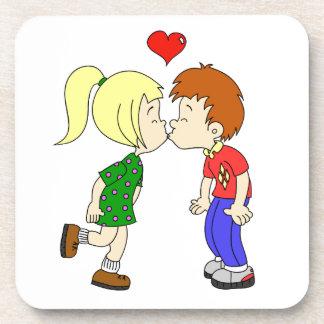 Cute boy girl kiss cartoon kids drink coaster