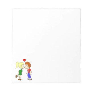 Cute boy girl kiss cartoon kids notepad