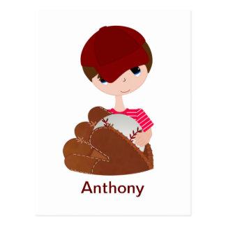 Cute, Boy Holding a Baseball Mitt and Ball Postcard