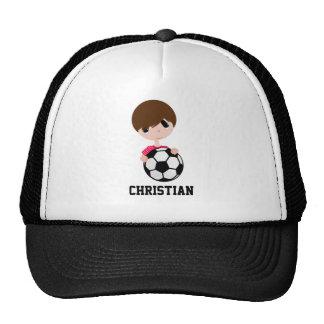 Cute Boy Holding Soccer Ball Trucker Hat