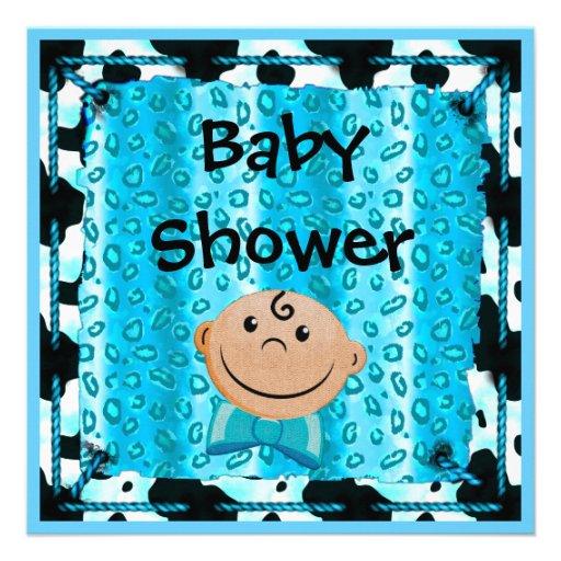 cute boy leopard cow animal print baby shower custom announcements