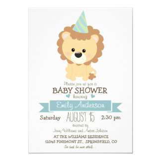 Cute Boy Lion, Jungle Zoo Animal Baby Shower 5x7 Paper Invitation Card