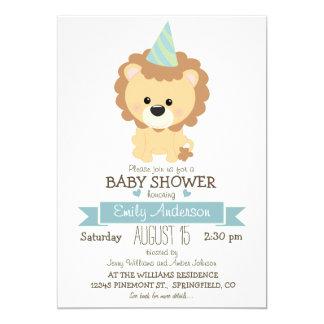 Cute Boy Lion, Jungle Zoo Animal Baby Shower Card