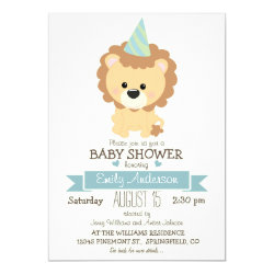 Cute Boy Lion, Jungle Zoo Animal Baby Shower Invitation