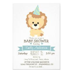 Cute Boy Lion, Jungle Zoo Animal Baby Shower Invitation