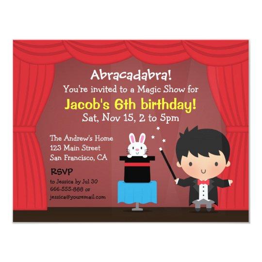 Cute Boy Magician Magic Birthday Party Invitations Zazzle Com