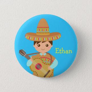 Cute boy Mexican Sombrero Hat Guitar Fiesta Button