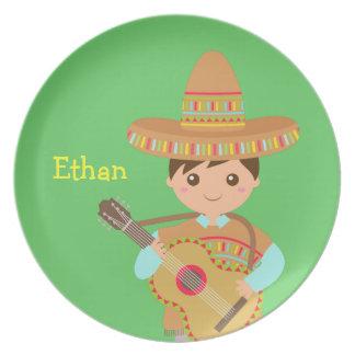 Cute boy Mexican Sombrero Hat Guitar Fiesta Dinner Plate