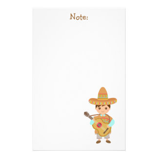 Cute boy Mexican Sombrero Hat Guitar Fiesta Stationery