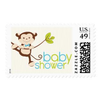 Cute Boy Monkey Baby Shower Stamp