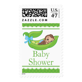 Cute Boy Monkey in a pea pod Baby Shower Postage