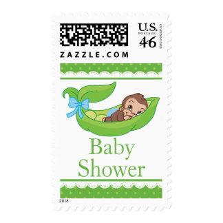 Cute Boy Monkey in a pea pod Baby Shower Postage