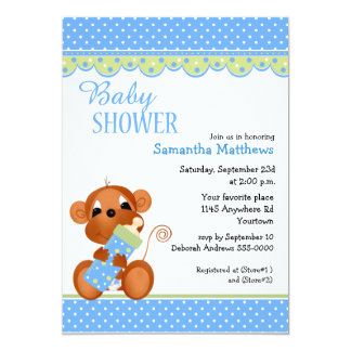 Cute Boy Monkey with Baby Bottle Shower Card
