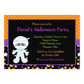 Cute Boy Mummy Halloween Costume Party Card