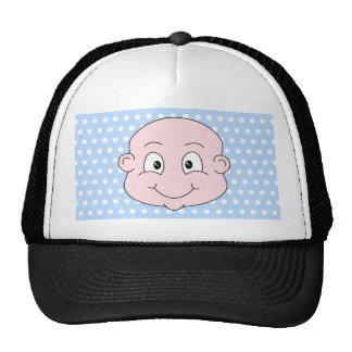 Cute Boy, on blue polka dot pattern. Trucker Hat