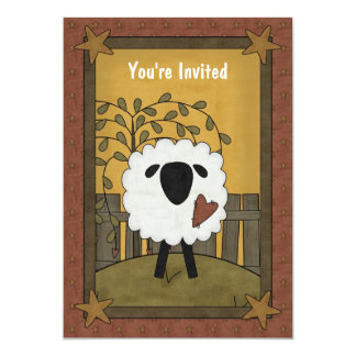 "Cute Boy or Girl Lamb Sheep Baby Shower 5""x7"" Custom Invites"