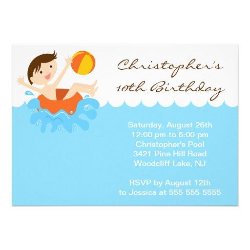 CUTE Boy Pool Party Birthday Invitation