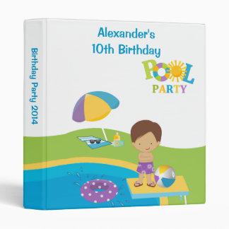 Cute Boy Pool Party Birthday Photo Album Binder