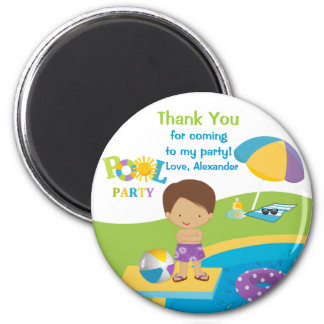 Cute Boy Pool Party Thank You Magnet