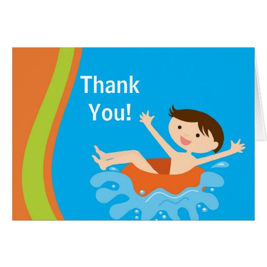 Cute Boy Pool Party Thank You Note Card