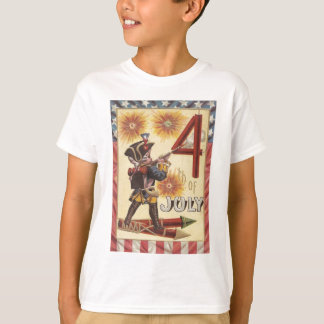 Cute Boy Revolutionary War Soldier Fireworks T-Shirt