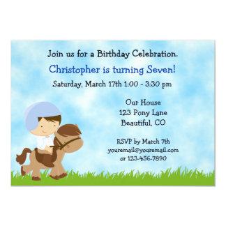 Cute Boy Riding a Brown Horse Birthday Invitation