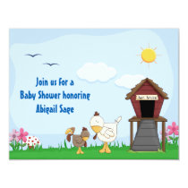 Cute Boy Rooster Chicks Baby Shower Invitation