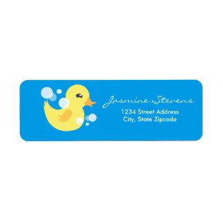 Cute Boy Rubber Ducky Baby Shower Return Address Label