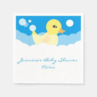 Cute Boy Rubber Ducky Baby Shower Paper Napkin