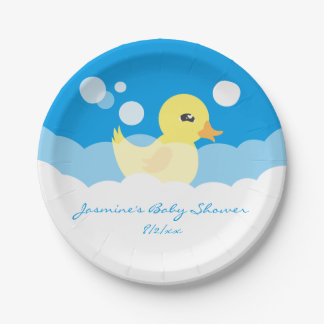 Cute Boy Rubber Ducky Baby Shower Paper Plate