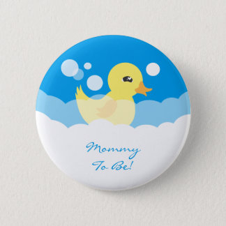 Cute Boy Rubber Ducky Baby Shower Pinback Button