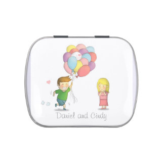Cute Boy Runs Happily to Girl with Balloons Jelly Belly Candy Tins