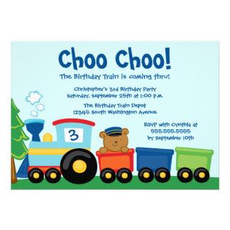 Cute boy s train bear birthday party invitation