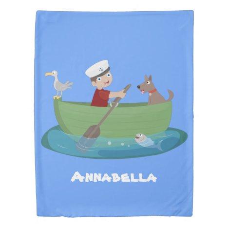 Cute boy sailor and dog rowing boat cartoon duvet cover