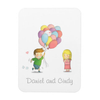 Cute Boy Shares His Love to Girl with Balloons Rectangular Photo Magnet