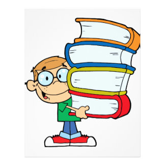 cute boy student with lots of books full color flyer
