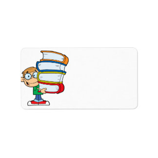 cute boy student with lots of books custom address label