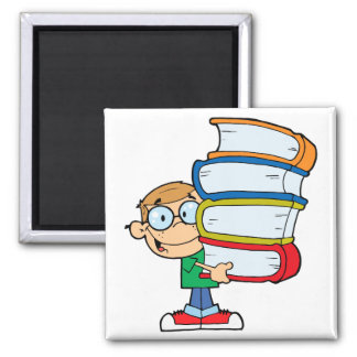 cute boy student with lots of books fridge magnet